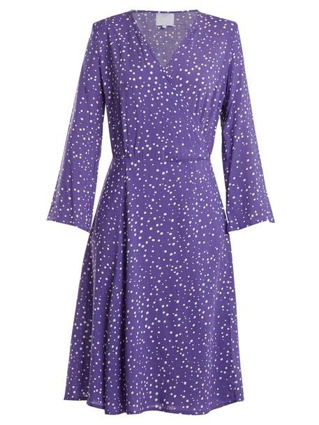 dress wrap dress print blue