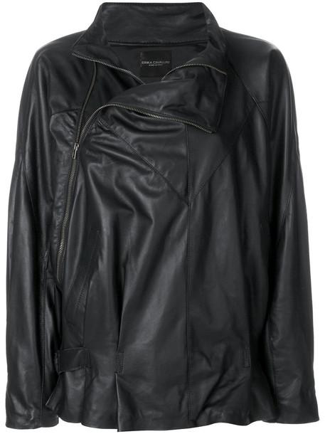 Erika Cavallini jacket oversized zip women leather black