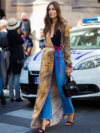 coat kimono black sandals bag top black top boho jeans sandal heels sandals flare jeans