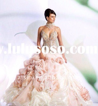 dress prom prom dress blush dress wedding wedding ring crystals couture couture dress light pink floral gorgeous beautiful grand queen jewelry necklace wedding dress princess wedding dresses huge dress white dress expensiveshirt love love wire ring glitter dress style shiny heart pink dress fashion floral dress gorgeous dress make-up formal dress jewels long dress gown