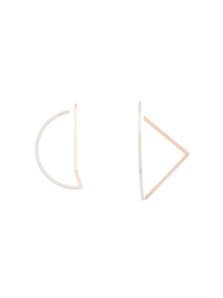 women geometric earrings gold grey metallic jewels