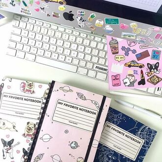 home accessory yeah bunny notebook cute space stars pink pastel