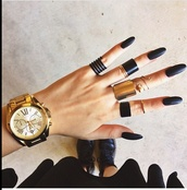 jewels,ring,cuff,cute,love,black,watch,gold,long nails,shoes,style,rings and tings,jacket,nail polish,nail art,nails