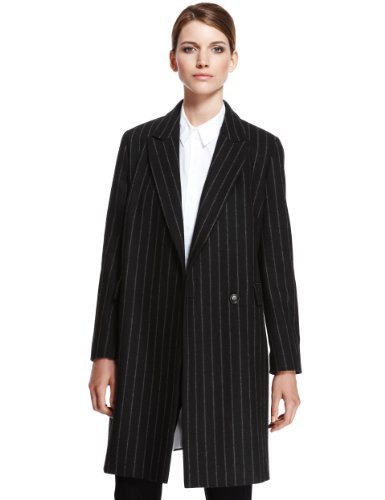 Autograph Wool Rich Peak Lapel Pinstriped Coat - Marks & Spencer
