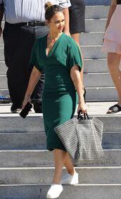 dress,jessica alba,midi dress,green,grey dress,sneakers,celebrity