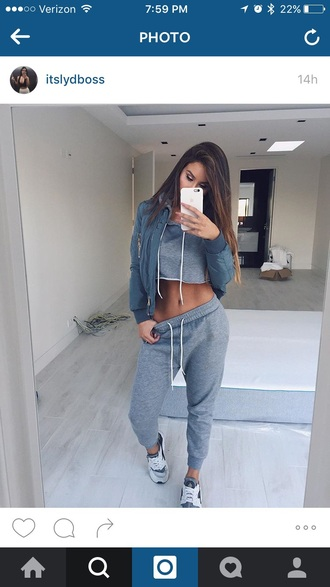 sweats crop tops cropped hoodie cropped sweatpants grey and white bomber jacket sneakers two-piece jacket active women pants sweatshirt set grey sweatpants pajamas tumblr blue grey shirt sweater