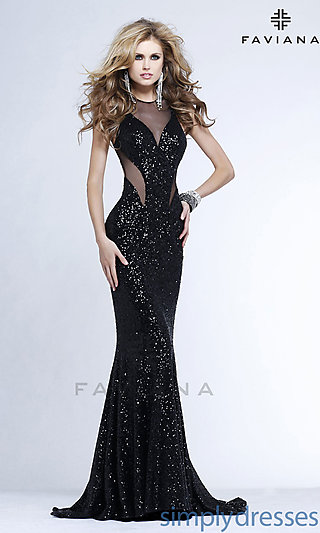 Sexy Open Back High Neck Sequin Gown - SimplyDresses