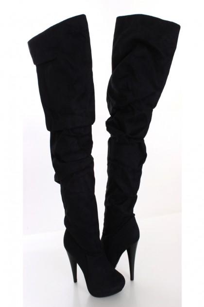black faux suede thigh high boots clubwear