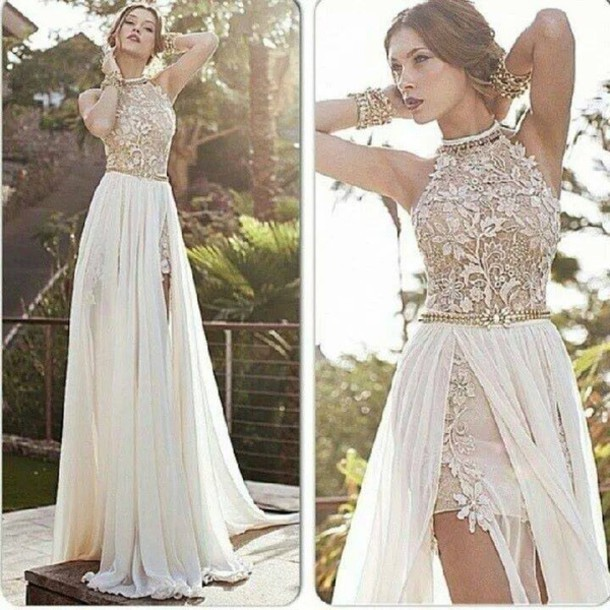 high neck lace beaded chiffon high low white prom dress 2014 party ...