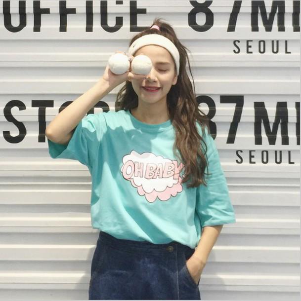 skirt shirt graphic tee pastel pastel blue korean fashion harajuku kawaii cute cute shirt