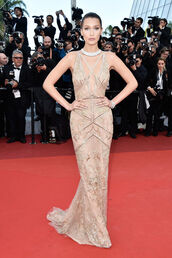 dress,gown,prom dress,wedding dress,bella hadid,cannes,red carpet dress,sparkly dress,shoes