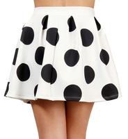 White black polka dot skater skirt