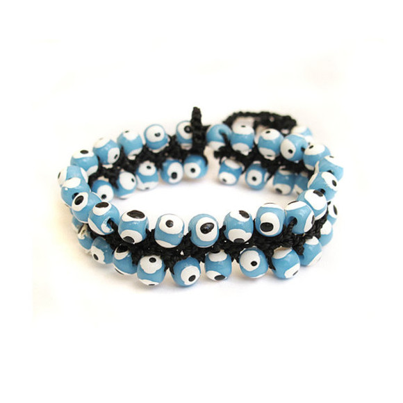 jewels friendship bracelet evil eye evil eye bead bracelet crochet bracelet crochet jewelry beaded bracelet handmade necklace blue