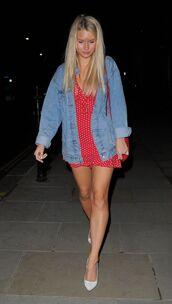 dress,red dress,red,denim jacket,pumps,lottie moss,mini dress