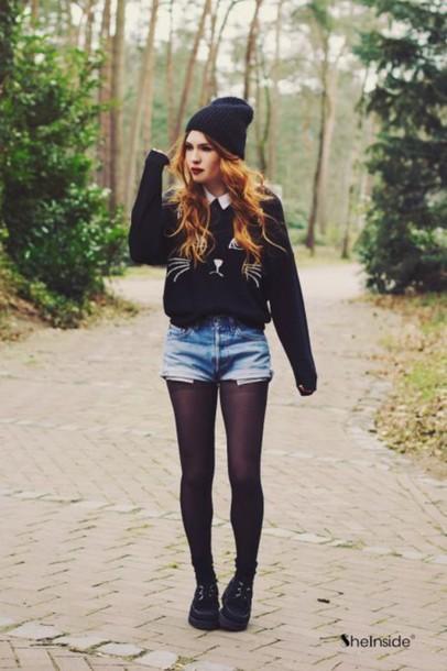 sweater beanie tights shorts black shoes black sweater cat sweater shoes top black kitty cat cats shirt cute top grunge cats denim shorts collar white cute