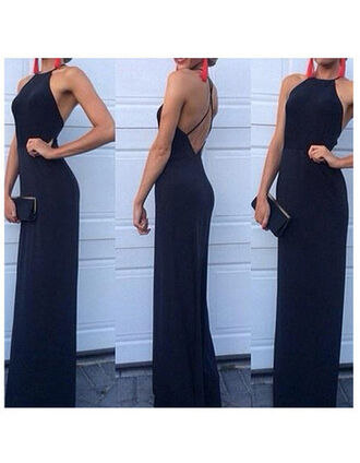 dress prom dress navy dress blue skirt blue black black dress backless prom dress backless dress backless black dress long prom dress long dress halter dress halter neck sleveless dress string back