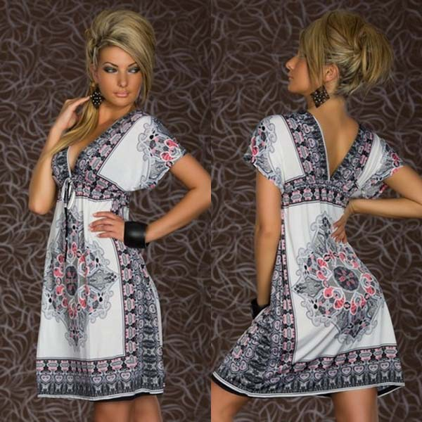 Summer 2014 Sexy Retro 1960s 1970s SunDress Bodycon Vintage Paisley Print Hippie Bohemian Beach Patterns Dress ND26-04 | Amazing Shoes UK
