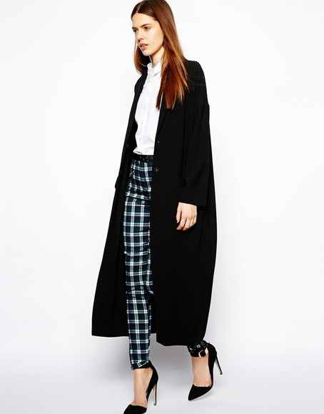 black large long coat oversize