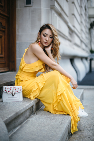not jess fashion blogger dress shoes jewels bag tumblr yellow yellow dress maxi dress long dress ruffle ruffle dress earrings accessories accessory