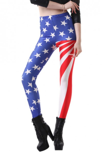 KCLOTH USA Flag Printed Slim Fit Leggings