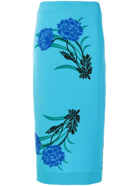 skirt printed skirt women blue silk