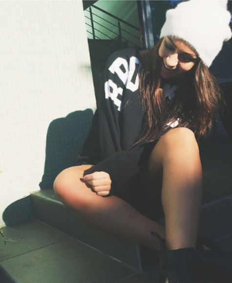 soft girly white beanie sweater black swearshirt letters printed white letters