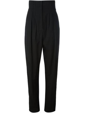 high women cotton black silk pants