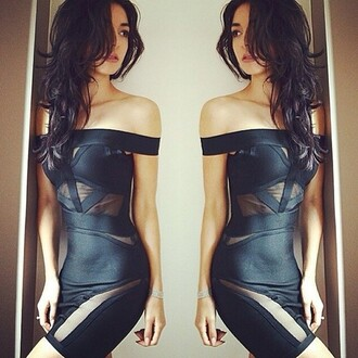 dress leather mesh black sexy hot little black dress off the shoulder dress black bodycon tight black