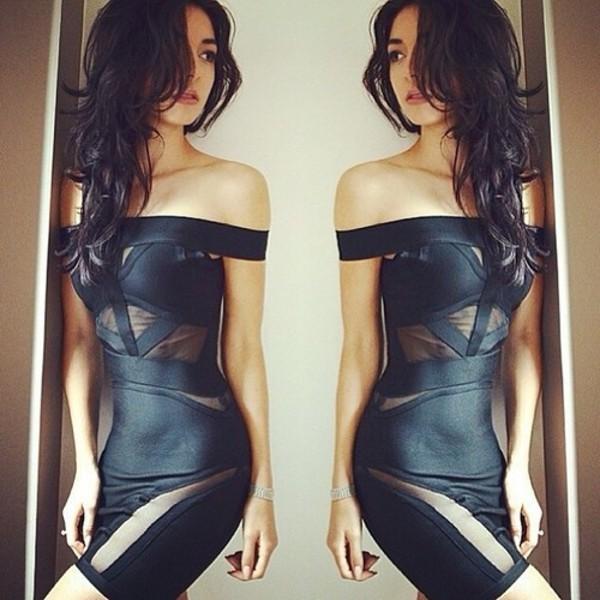 dress leather mesh black sexy hot little black dress off the shoulder dress black bodycon tight black