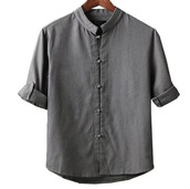 shirt,plate buttons,linen,cotton,grey,grey shirt,three-quarter sleeves,monochrome,minimalist,menswear,unisex,asian inspired,chinese fashion,inspiration,fashion,chinese style top,traditional,women