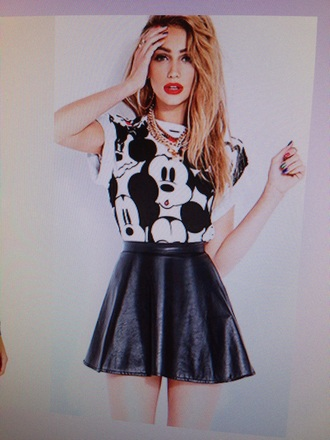 top mickey mouse black and white style shirt skirt