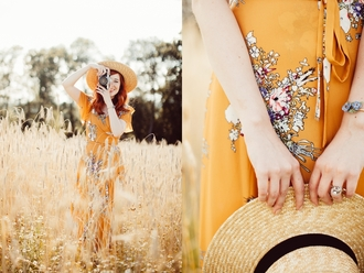 the clothes blogger hat dress jewels orange dress straw hat summer outfits