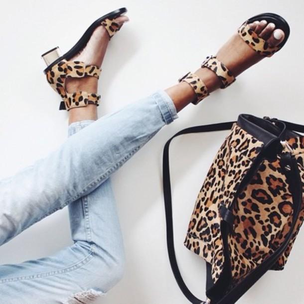 shoes sandals bag panterprint cute