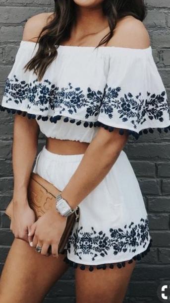 romper two-piece blue and white