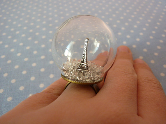 Snowball ring with eiffel tower by violleville on etsy
