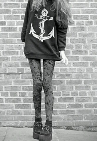 sweater grey sweater anchor leggings
