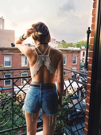 shorts bra hot summer grunge coachella urban outfitters bralette lace bralette