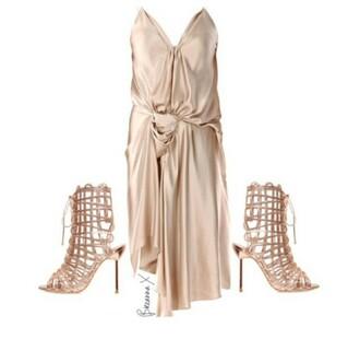 dress satin satin dress knot slit strappy silk dress