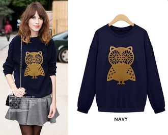 jacket sweater cute pretty owl navy girly gold