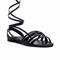 Strappy wrap up sandal - black