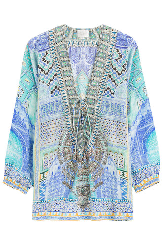 blouse embellished silk multicolor top
