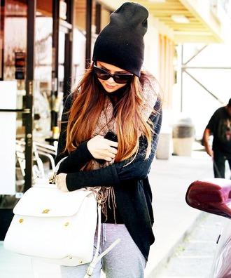 cardigan selena gomez scarf white satchel