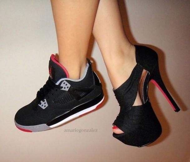 shoes jordans sneakers black heels black high heels