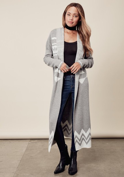 Coat Lovestitch Grey Coatigan Cardigan Boho Bohemian Chic Duster Hooded Winter Outfits Fall