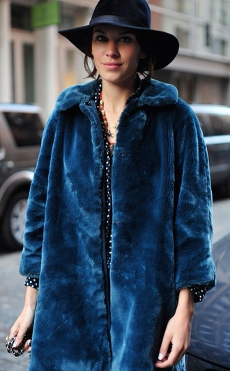 alexa chung jacket coat winter outfits vintage fur blue faux fur teal