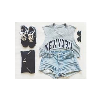 tank top grey hat shoes shorts sunglasses nail polish bag grunge cool punk rock