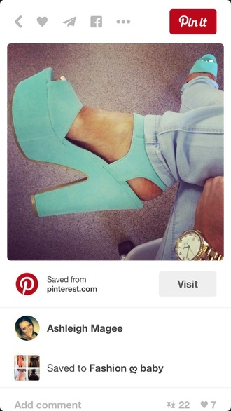 shoes chunky sole high heels cute high heels mint