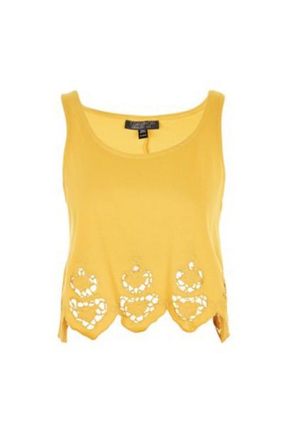 Topshop vest embroidered mustard jacket