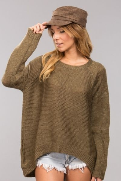 Loose fitted chilly weekend sweater in dark olive