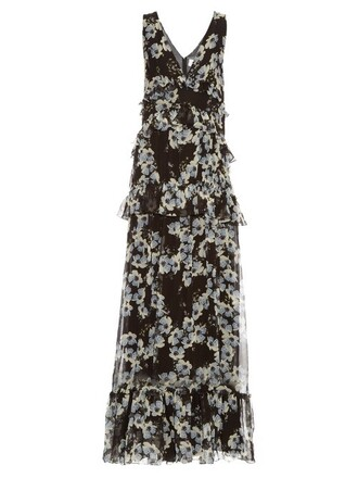 gown rose print silk white black dress